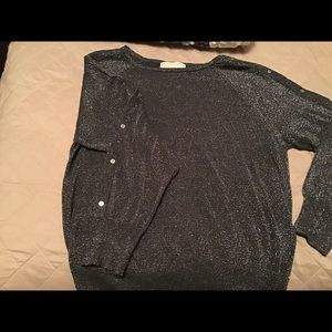 Michael Kors Sparkly Sweater Sz M Silver Gray